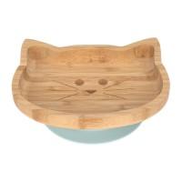 Bambukinė prilimpanti-neslįstanti užkandžių lėkštė CAT